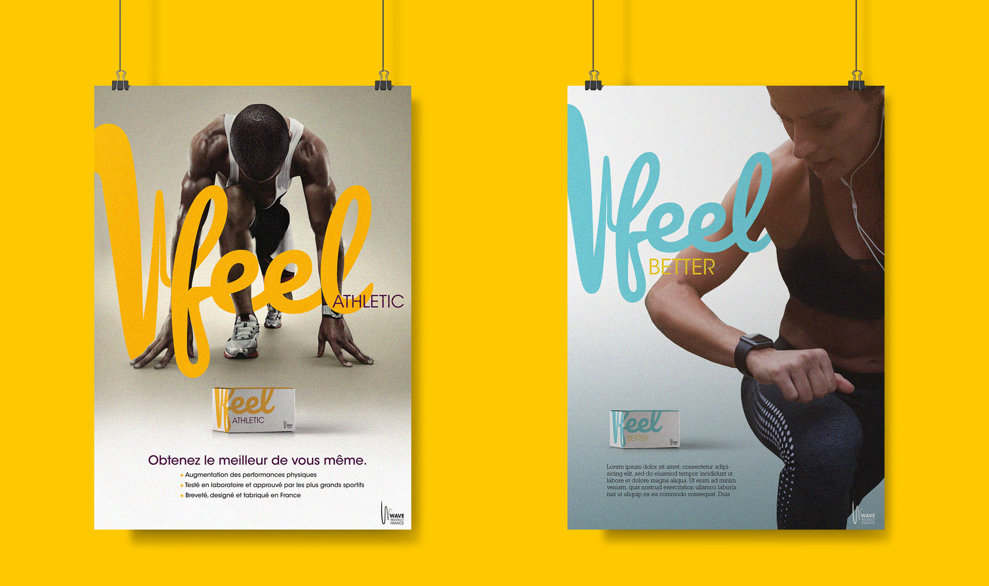 Deux affiches types réalisées par l'Agence des Monstres pour mettre en avant les nouveaux packagings de Wave protect France.