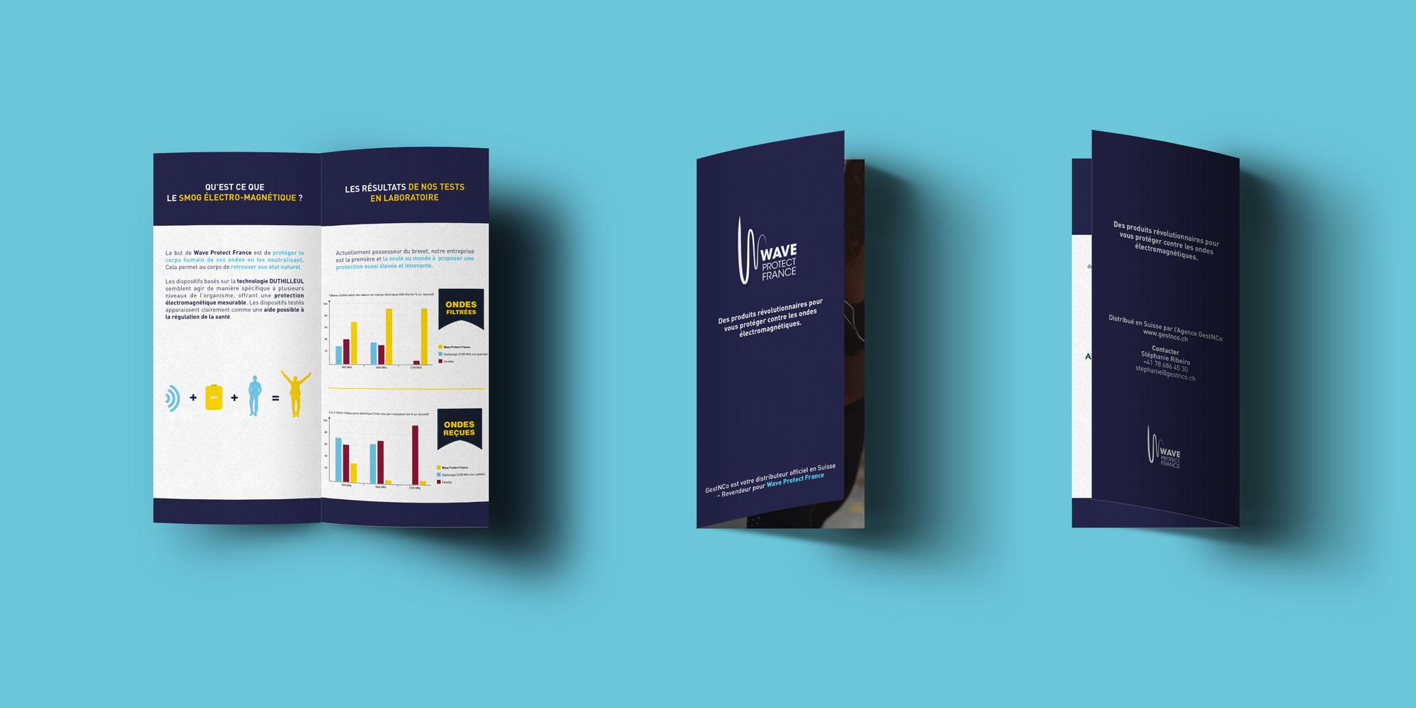Dépliant réalisé par l'Agence Des Monstres présentant les bienfaits des produits de Wave Protect France.