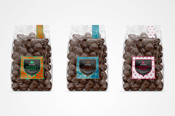 Communication pour artisan chocolatier à Auxerre, refonte complète des étiquettes d'un artisan chocolatier pour ses packaging