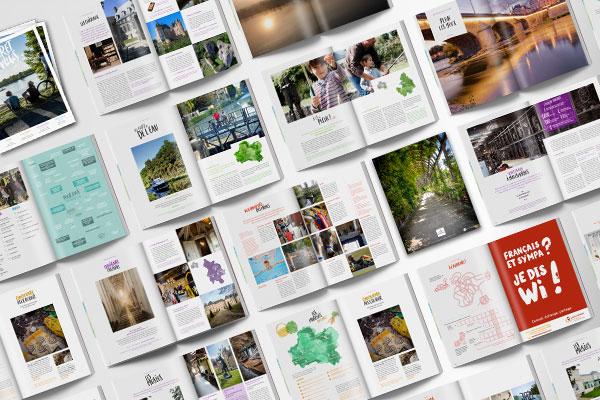 Loiret Vous est un magazine commandé par l'agence de développement et de réservation touristique du Loiret (ADRT) dont l'agence Des Monstres a réalisé la création graphique, l'accompagnement et la mise en page.