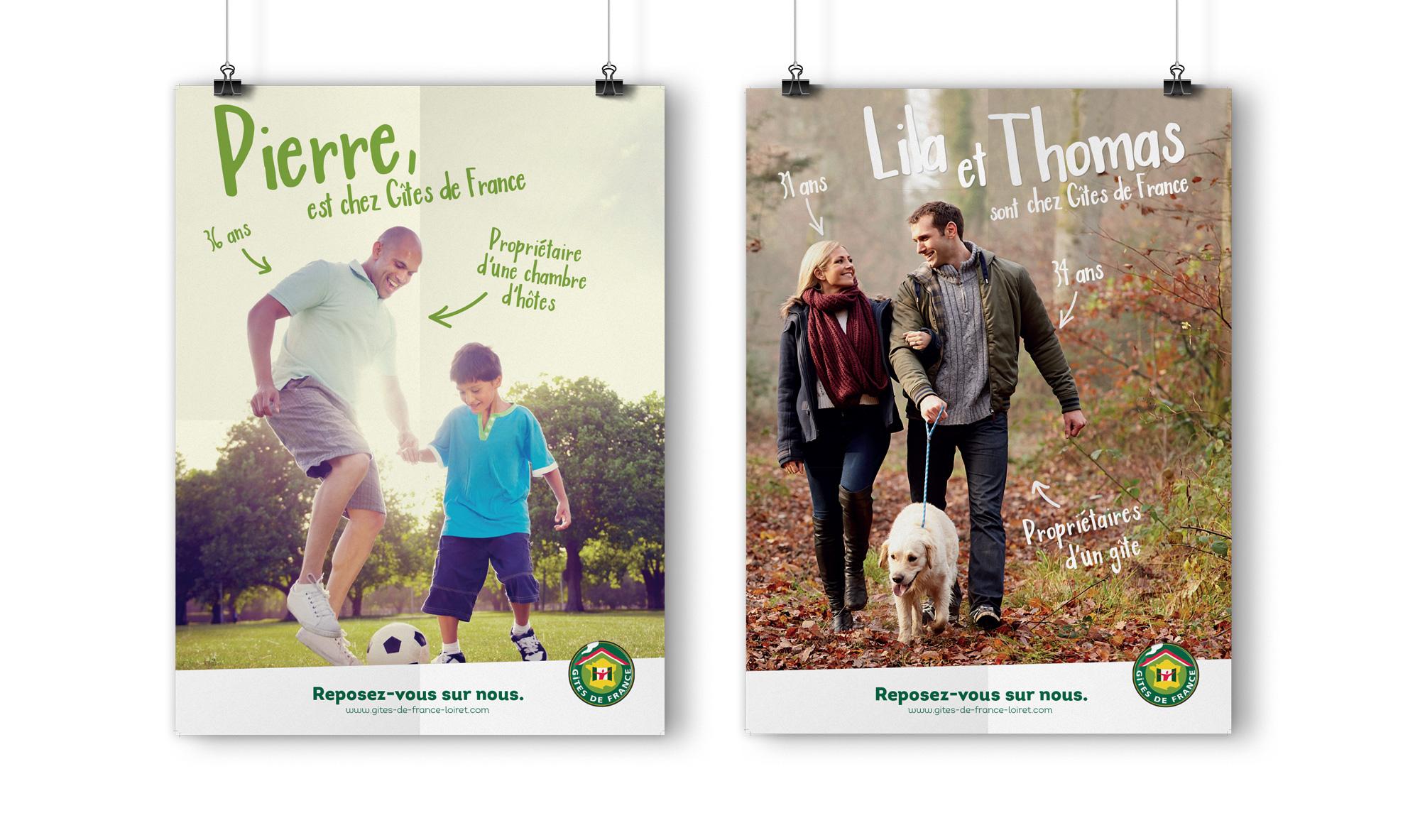 Deux affiches de la nouvelle campagne de communication de Gîtes de France Loiret.