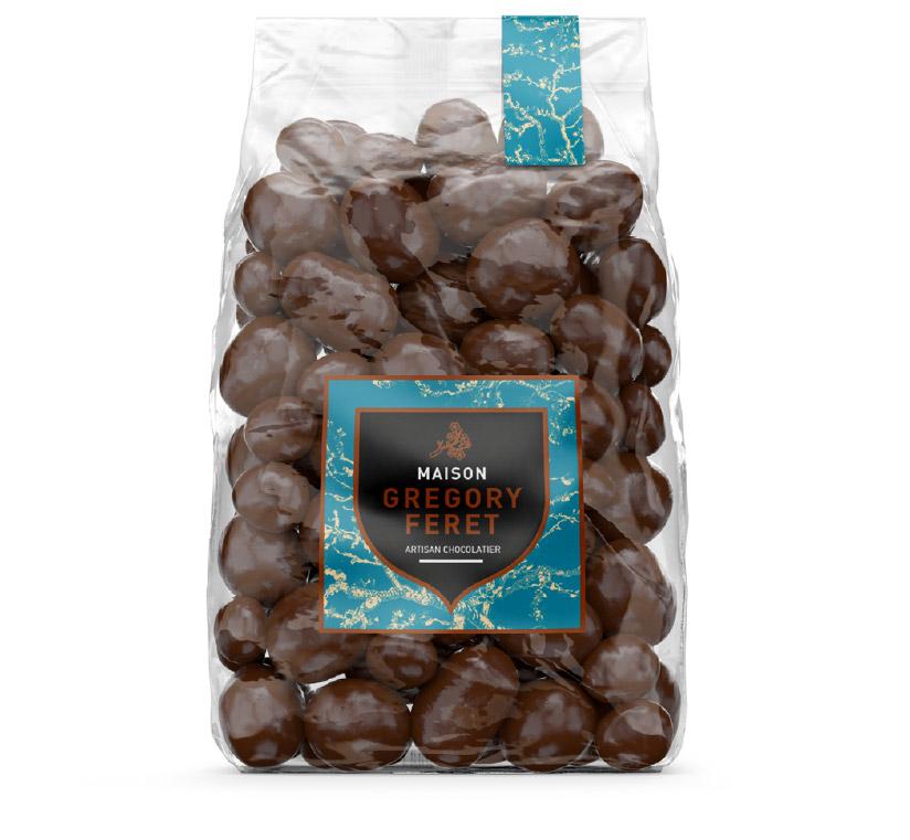 Communication pour un sachet de chocolatier à Auxerre, refonte d'étiquettes adhésive avec Lucas étiquettes