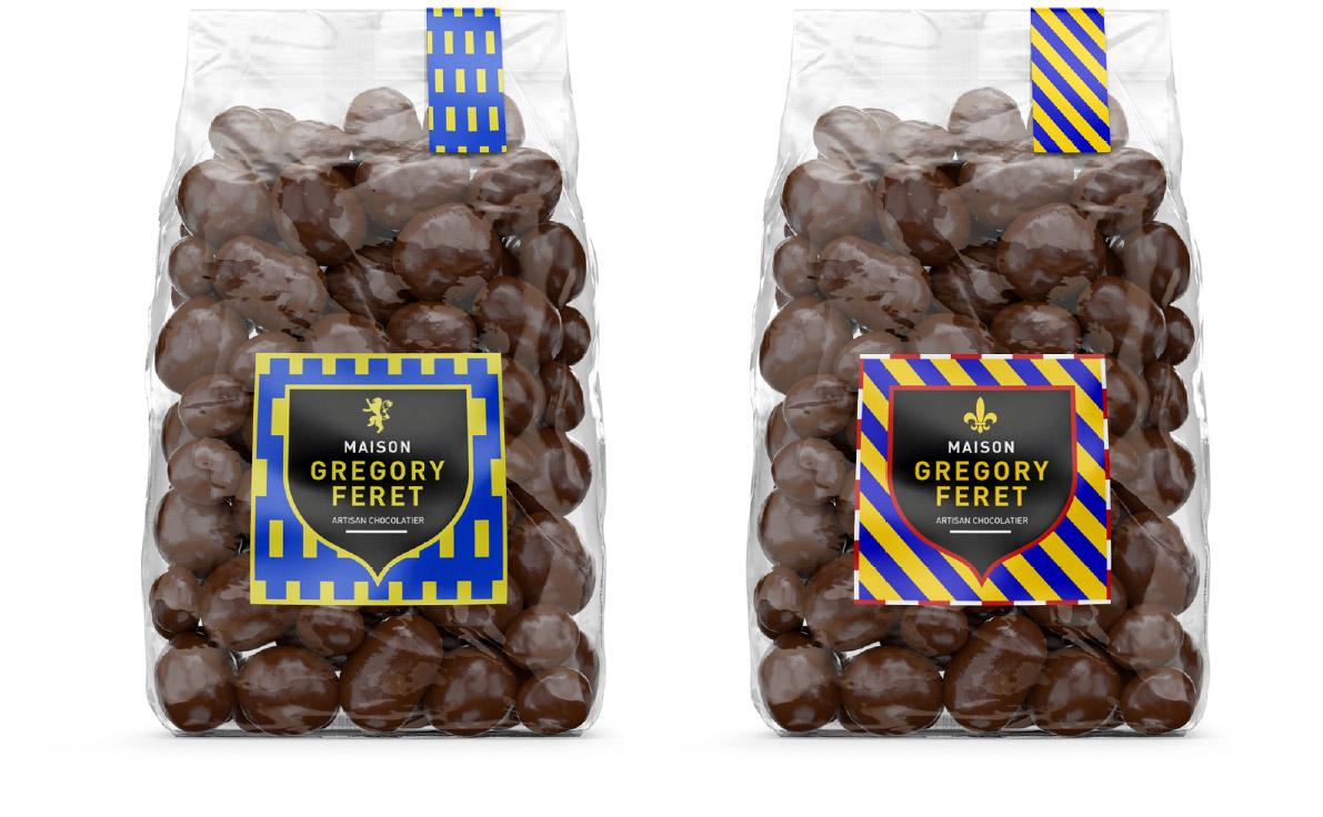 Design des sachet de chocolat, étiquette principale et étiquette de fermeture