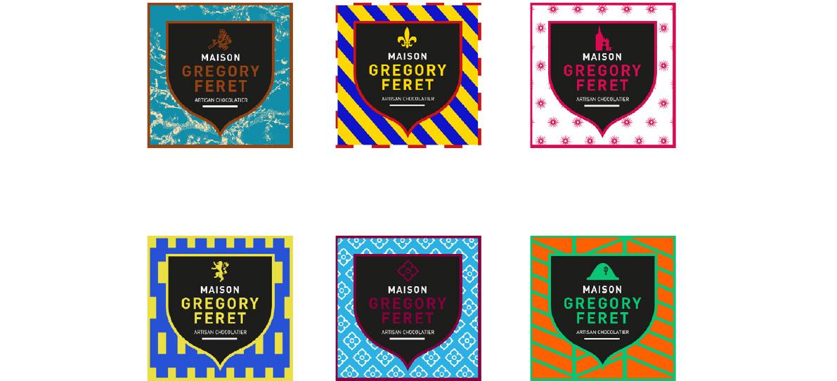 Communication, design de 6 étiquettes pour un Chocolatier