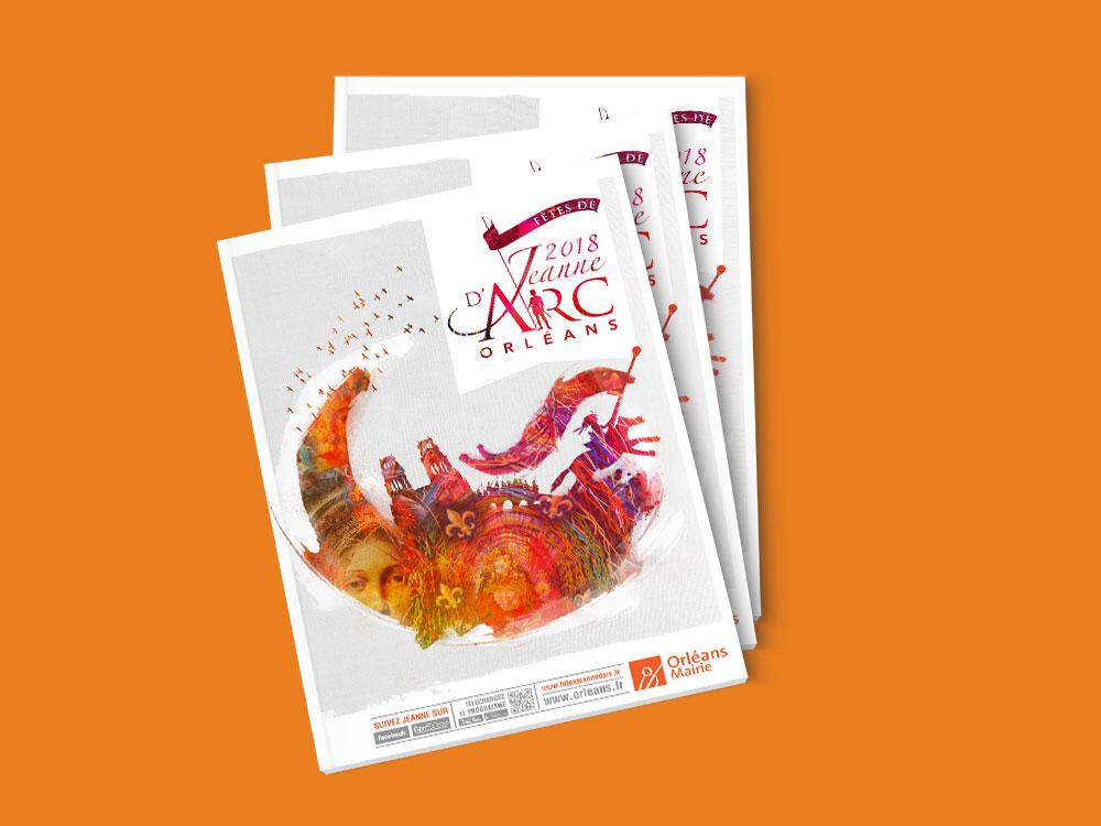 Proposition graphique de mise en page pour les fêtes de Jeanne d'Arc 2018 à Orléans par l'Agence de com Des Monstres
