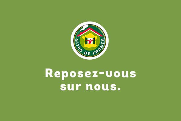 """Campagne pour Gites de France avec la baseline """"Reposez-vous sur nous"""", réalisé par l'agence de com Des Monstres à Orléans, pour des supports tels que des kakémonos, des affiches ou encore un livret mis en page."""