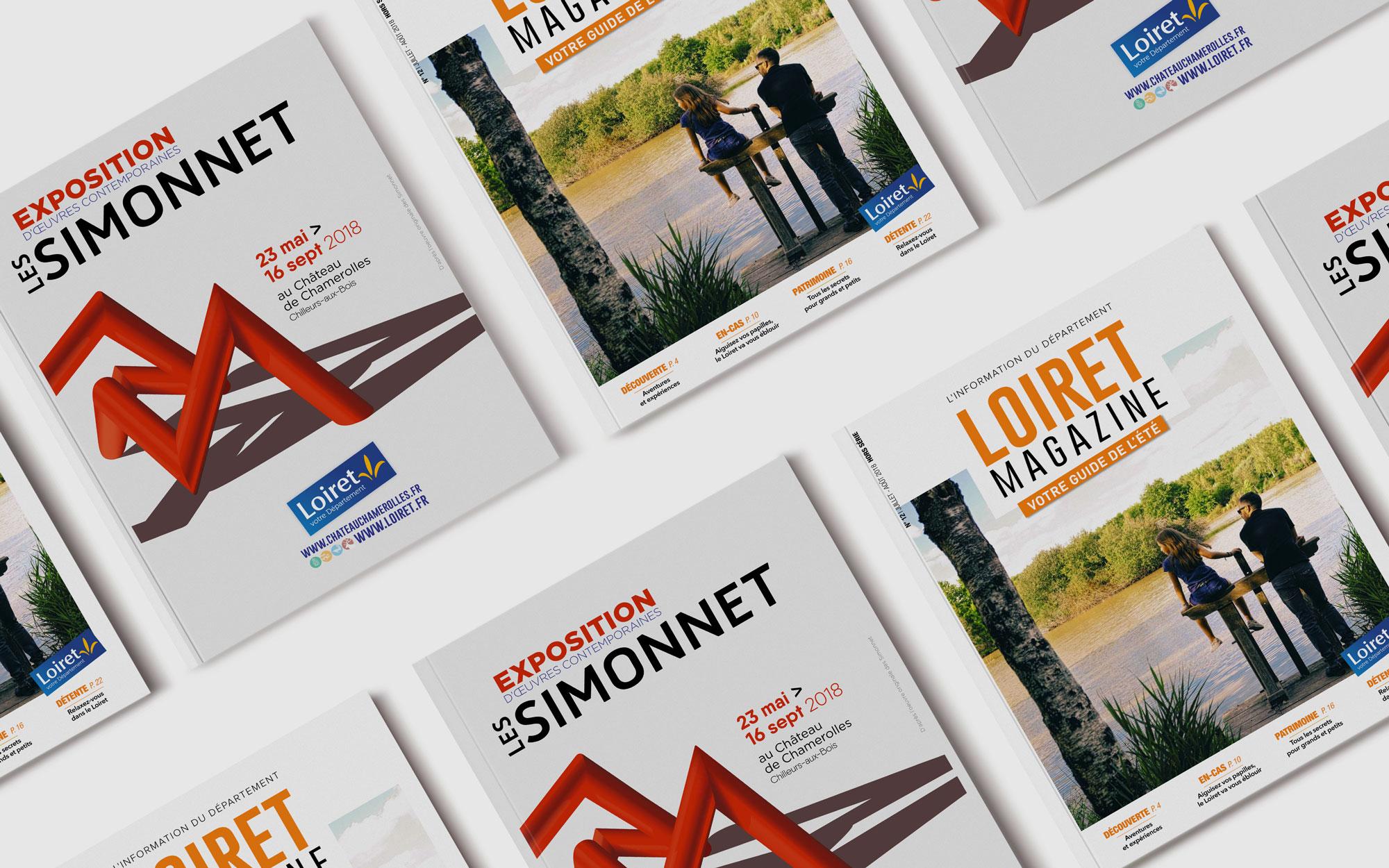 Mise en page du Loiret Magazine spécial été pour le Conseil départemental du Loiret par l'Agence de communication et de graphisme Des Monstres