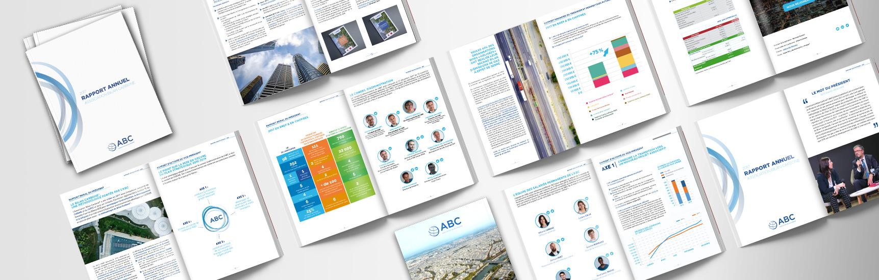 Mise en page du Rapport d'Activité pour l'association parisienne Bilan Carbone par l'Agence Des Monstres à Orléans.