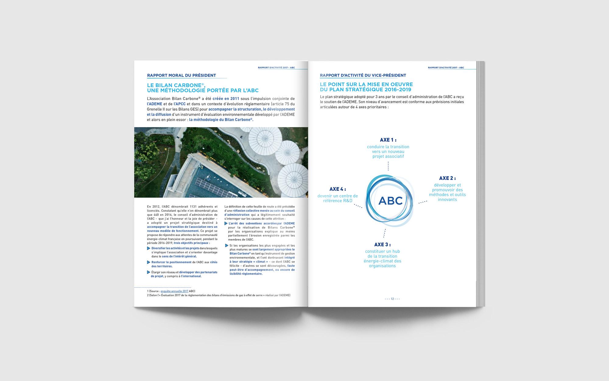 Mise en page du Rapport d'Activité pour l'association parisienne Bilan Carbone par l'Agence de communication Des Monstres à Orléans.