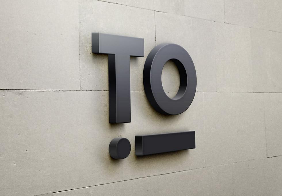 Déclinaison du logo créer pour le théâtre national de la ville d'Orléans, sur des murs en reliefs pour mettre en scène la signalétique, ce graphisme a été créée par l'agence des monstres à Orléans.
