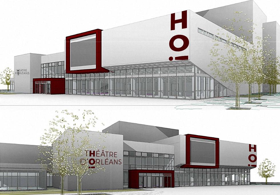Déclinaison du logo créer pour le théâtre national de la ville d'Orléans, sur la facade du batiment.