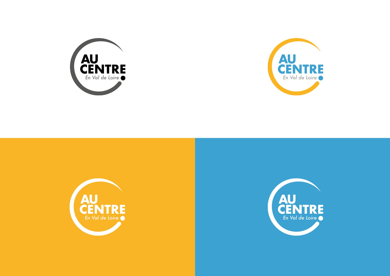 Logo Au Centre et ses déclinaisons de couleurs