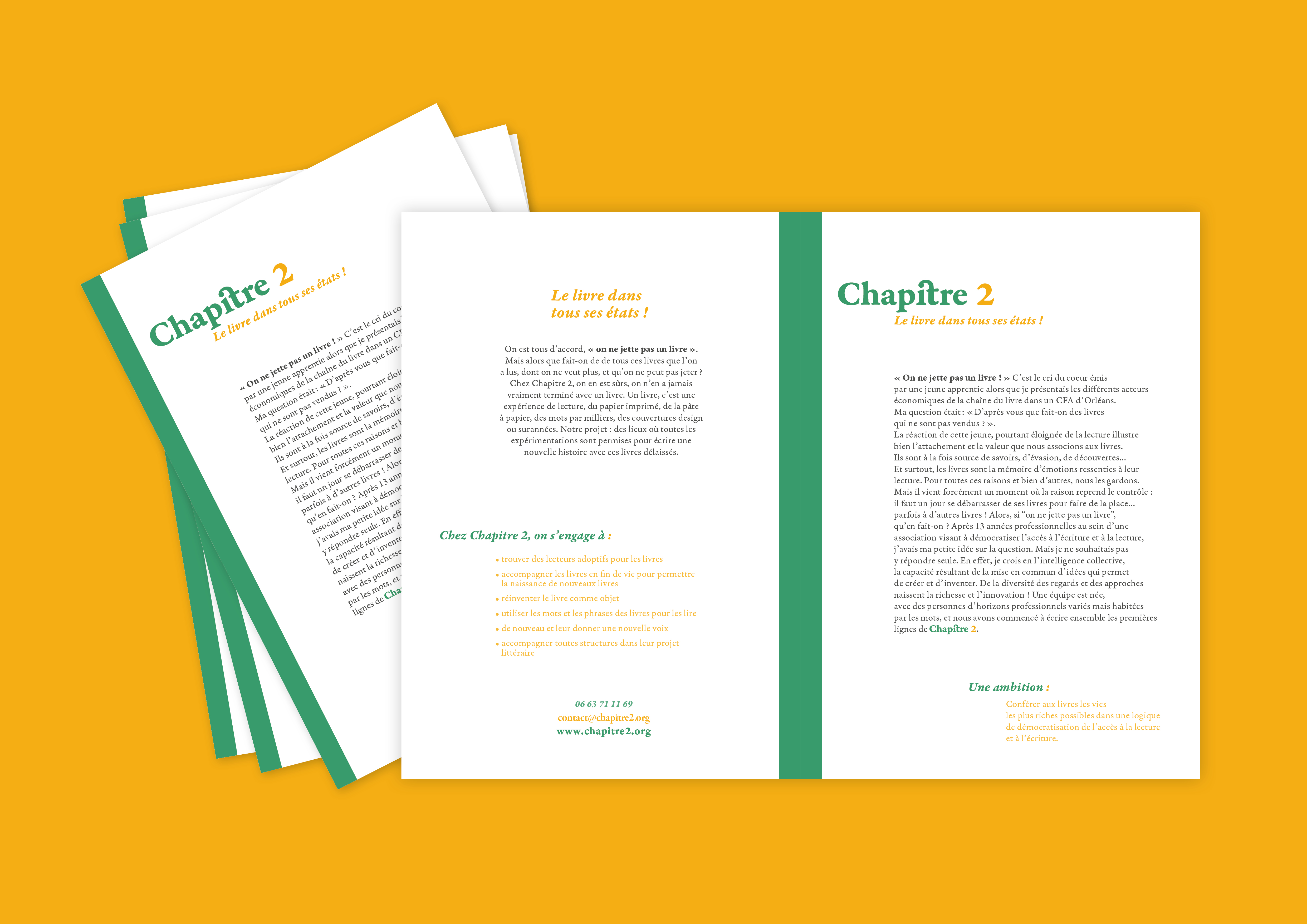 Création de l'identité et de support graphique pour Chapitre 2. Mise en page sur document.