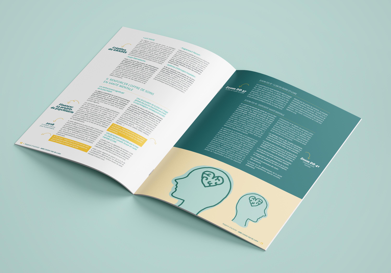 Mise en page d'un livret avec gestion de texte, de typographie et illustration réalisé par l'agence des monstres.