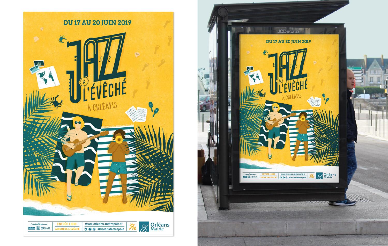 Affiche pour le festival de musique jazz à l'évéché à Orléans