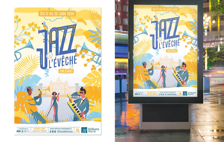Affchi pour le festival de musique jazz à l'évéché à Orléans