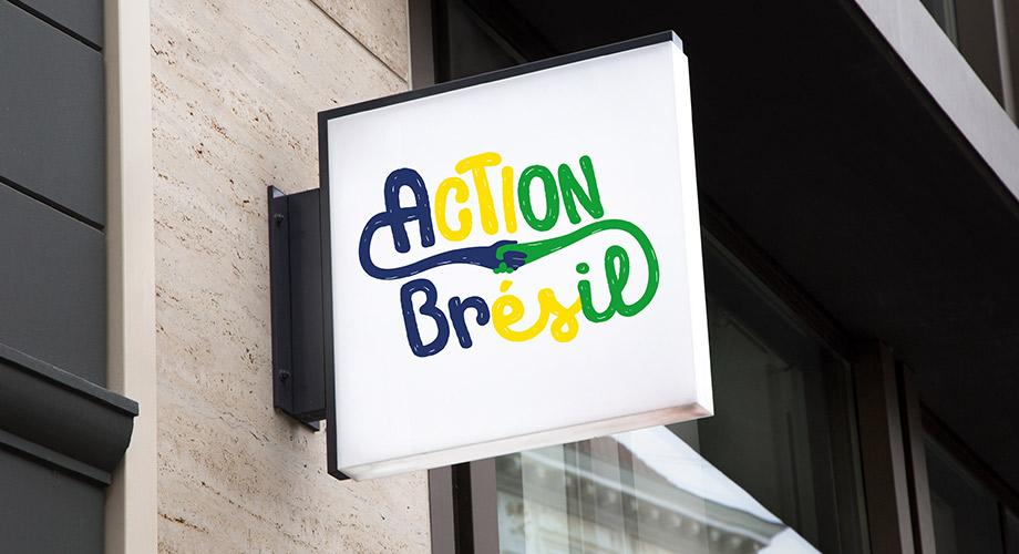 Mise en situation du Logo action brésil réalisé par l'agence des monstres à Orléans dans le Loiret