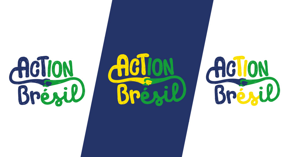déclinaison de couleurs du logo de l'association de solidarité action Brésil