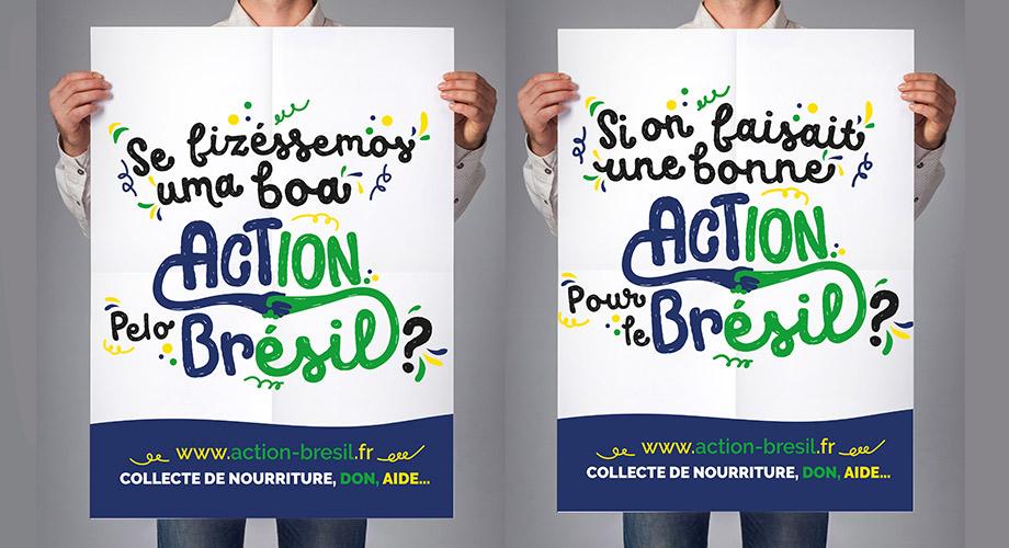 Affiche typographique pour l'association Action Brésil. Une affiche joyeuse et dynamique.