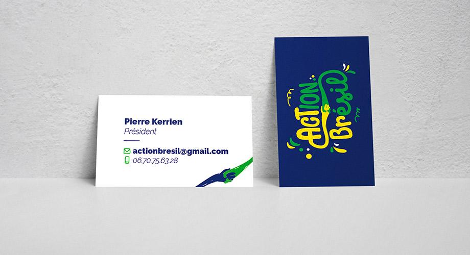 Carte de visite avec le logo d'action Brésil réalisé par l'agence des monstres à Orléans